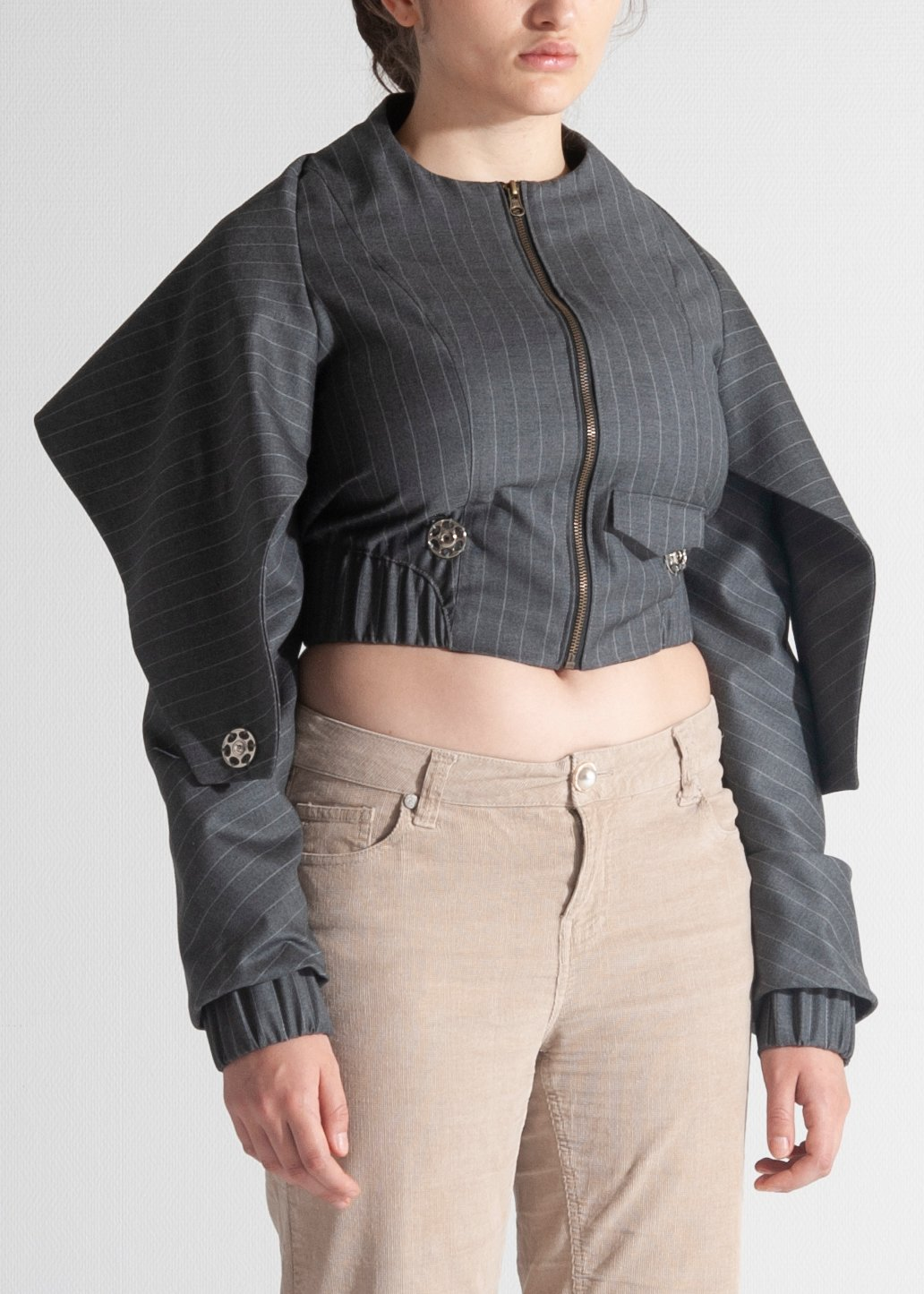 Couture Bomber Jacket Grey wool collectif GAMUT